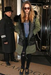 jacket,cara delevingne,top,jeans,ripped jeans,sunglasses,shoes
