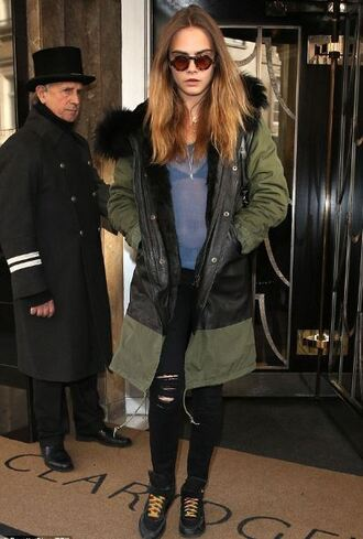 jacket cara delevingne top jeans ripped jeans sunglasses