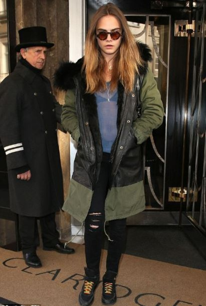 jacket cara delevingne top jeans ripped jeans sunglasses shoes