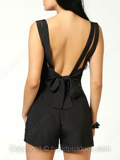 Black V-neck Sleeveless Bow Drawstring Waist Jumpsuit - HandpickLook.com
