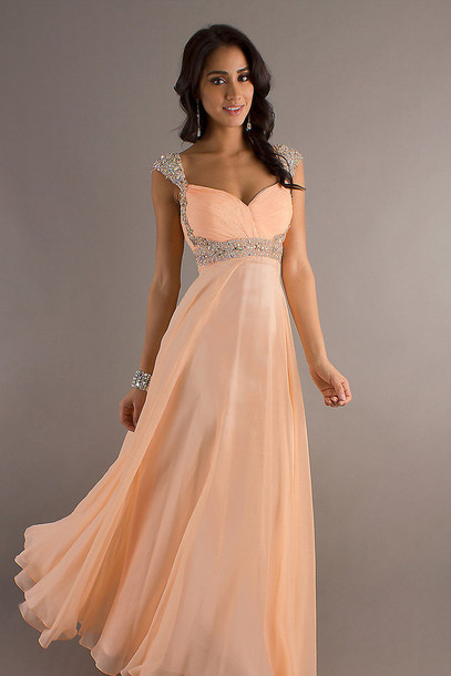 dress, chiffon, sweetheart neckline, a line dress, floor length ...