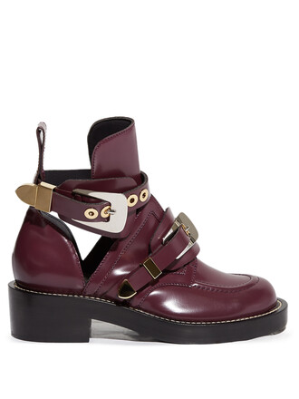 leather ankle boots cut-out boots ankle boots leather burgundy shoes