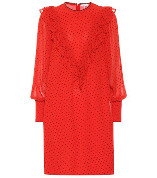 Ganni Polka-dot georgette dress in red