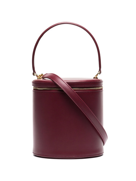 Staud women bag leather velvet red