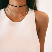 jewels,necklace,choker necklace,jewelry,gold choker,black choker,layered,gold necklace,accessories