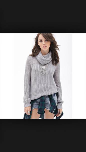 sweater grey knit cowl neck
