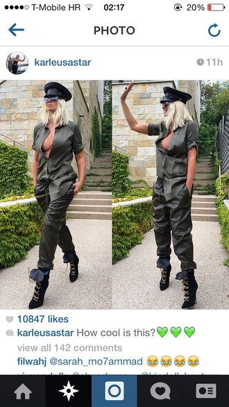 jelenakarleusa green pants lether