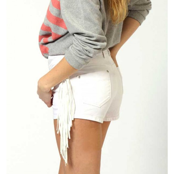 Denim Shorts With Side Fringe Details at Style Moi