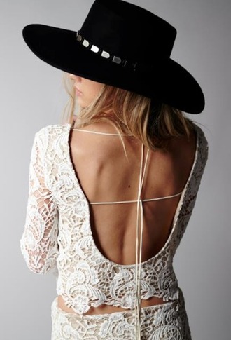 top lace white fashion open back style trendy loredo crop by winston white long sleeves embroidered