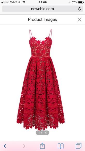 dress red dress fashion style midi dress girly lace dress lace feminine romantic summer dress red newchic