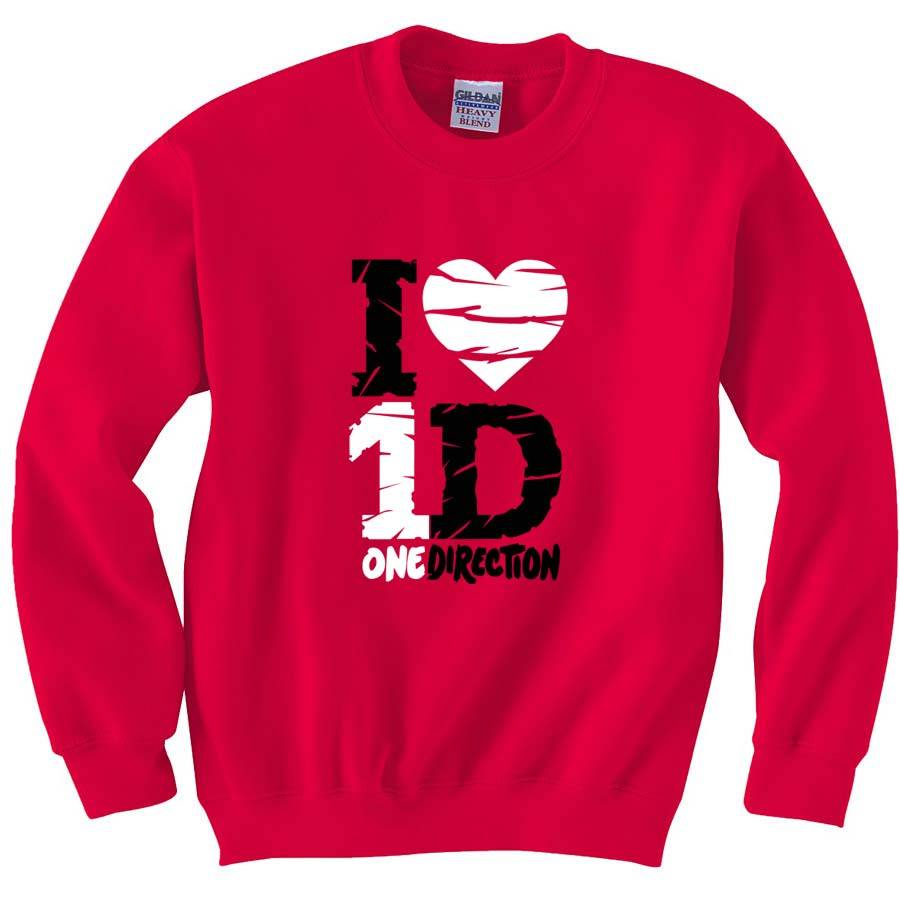 7068bf66980d New One Direction Fan Sweatshirt Crewneck Sweaters I Love Heart ...