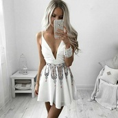 dress,white,plunge neckline,tribal pattern,mini,cute,white dress,pretty,prom dress