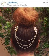 jewels,hair chain,gold hair chain,gold cute hair chain,leaf hair chain,gold leaf,leaves,gold,gold leaf hair chain