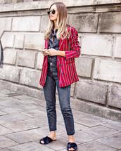 jacket,striped blazer,tumblr,blazer,red blazer,stripes,denim,jeans,blue jeans,cropped jeans,shoes,mules,shirt,denim shirt