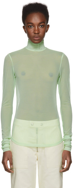 NOMIA turtleneck mesh green sweater