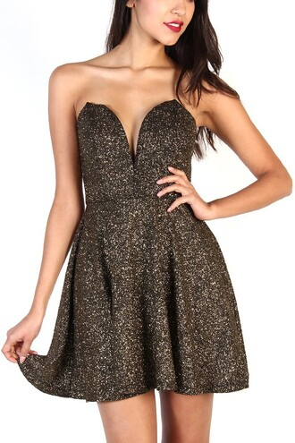 sexy dress v neck dress gold dress holiday dress new year's eve dress
