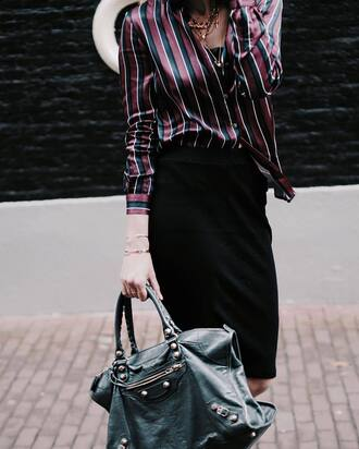 shirt tumblr silk silk shirt striped top striped shirt stripes skirt black skirt midi skirt pencil skirt bag grey bag necklace gold necklace bracelets gold bracelet jewels jewelry gold jewelry