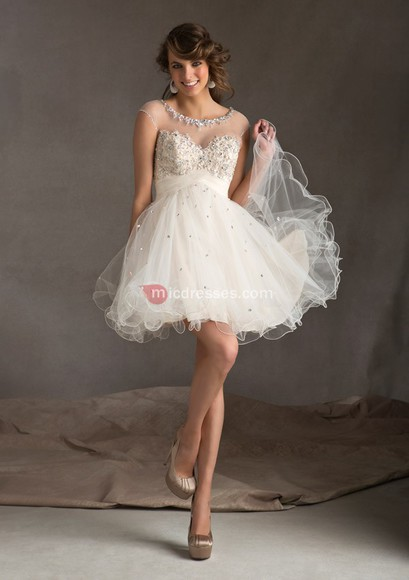 short a-line scoop organza beading ivory cocktail dresses