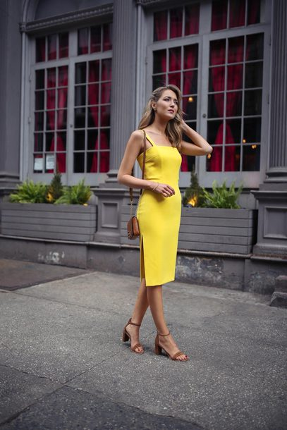Midi bodycon dress yellow