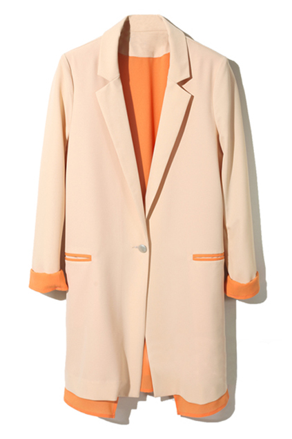 Romwe Color Block Apricot Blazer The Latest Street Fashion