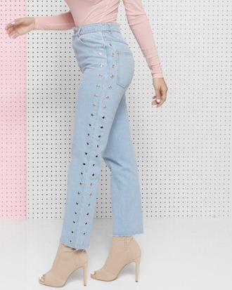 jeans denim grommet grommet jeans cropped cropped jeans mom jeans