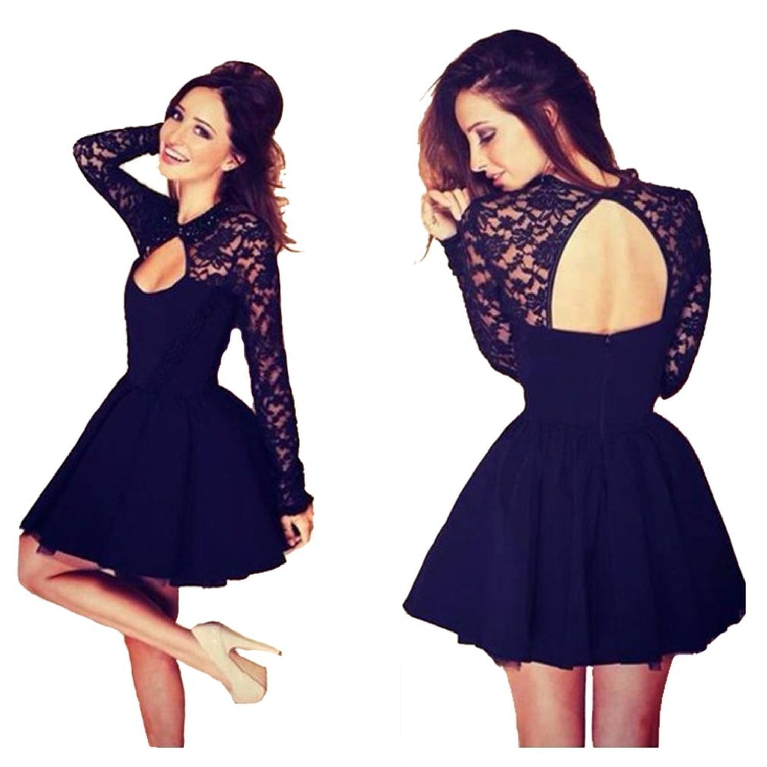 Womens Hollow Lace Sleeves Fit And Flare Party Cocktail Dress
