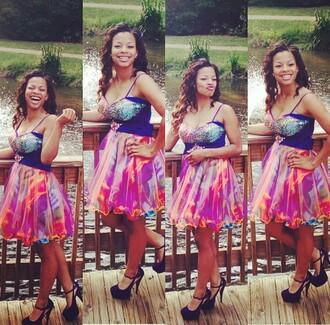 dress cute prom dress short prom dress glitter dress blue pink orange purple heels fushia shoes