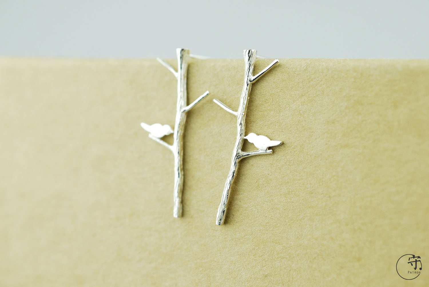 Birds On The Tree Branches 925 Sterling Silver Novelty Handmade Earrings - Wishbop.com