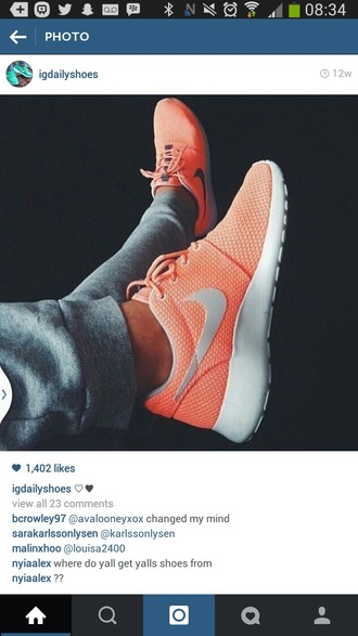 shoes nike roshe runs orange grey white nike roshe run trainers kicks nike running shoes