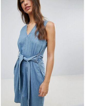 dress cheap monday jean dress denim dress summer summer dress streetstyle v neck blue dress casual back to school school outfit fall outfits fall dress