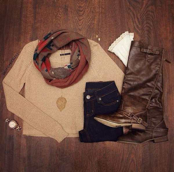cardigan everything scarf infinty scarf brown leather boots beige fall outfits shoes
