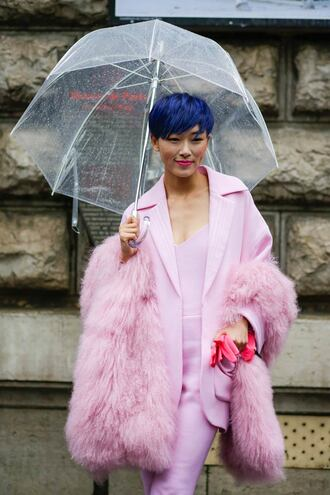 jacket pink winter outfit pink blazer pants pink pants all pink everything all pink wishlist blue hair short hair umbrella fur scarf scarf streetstyle pink top top blazer
