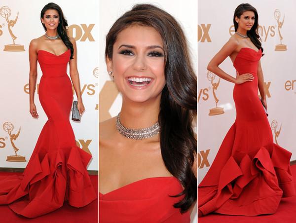 dress red nina dobrev red prom dress mermaid