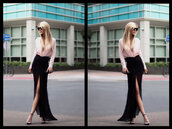 skirt,maxi skirt,blouse,high heels,sunglasses,slit maxi skirt