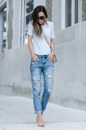 t-shirt,ripp,tumblr,grey t-shirt,denim,jeans,blue jeans,sandals,sandal heels,high heel sandals,sunglasses,shoes