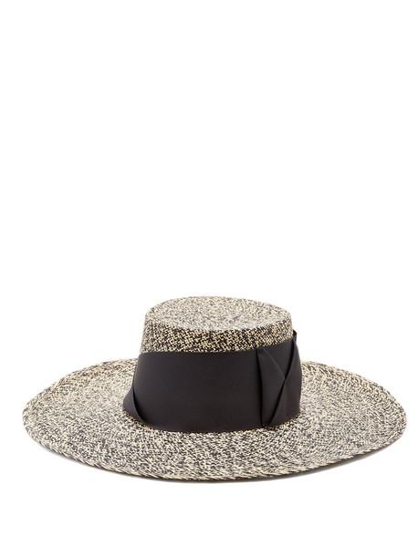 bow embellished hat straw hat black