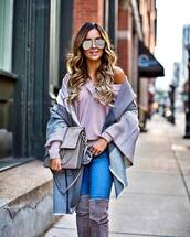 sweater,tumblr,pink sweater,v neck,scarf,blanket scarf,jeans,denim,blue jeans,boots,grey boots,over the knee boots,sunglasses,aviator sunglasses,bag,grey bag