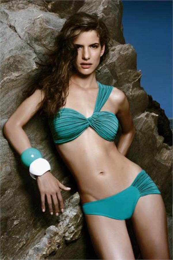 one shoulder bikini ruche green bikini swimwear blue swimwear one shoulder two-piece