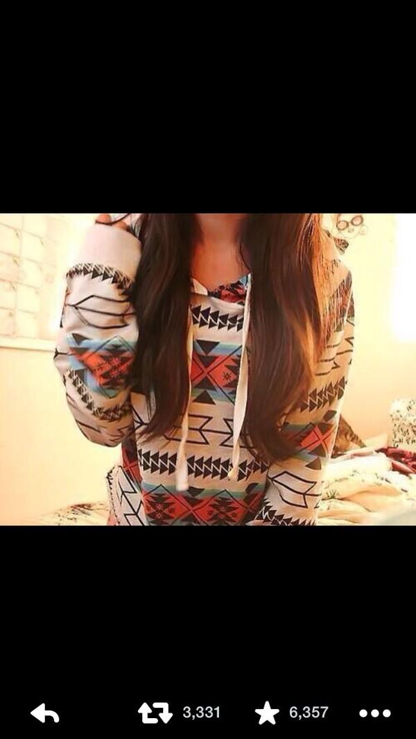 jacket sweater pink blue brown aztec