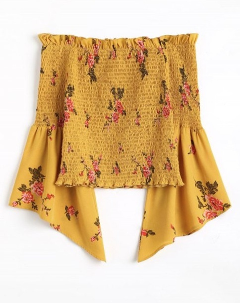 blouse girly yellow off the shoulder off the shoulder top floral flowers cute