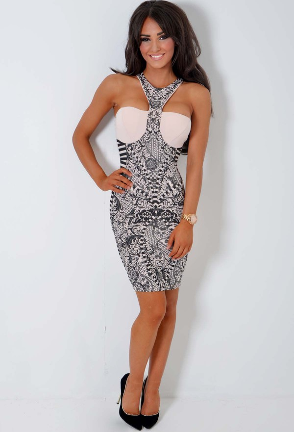 nude black illusion halter dress
