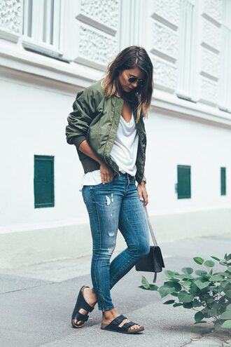 jacket white shirt green bomber jacket ripped jeans black sandals blogger