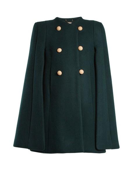 Chloe cape wool dark green top