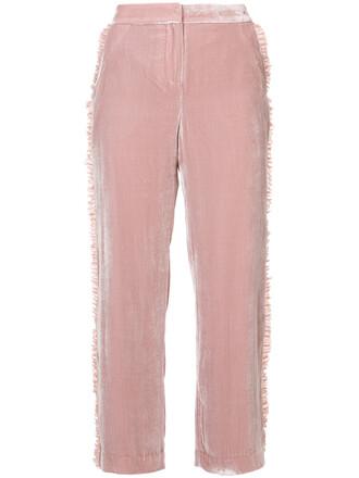 women silk velvet purple pink pants