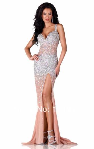 dress peach prom dress mermaid wedding dresses backless prom dress long dress rhinestones