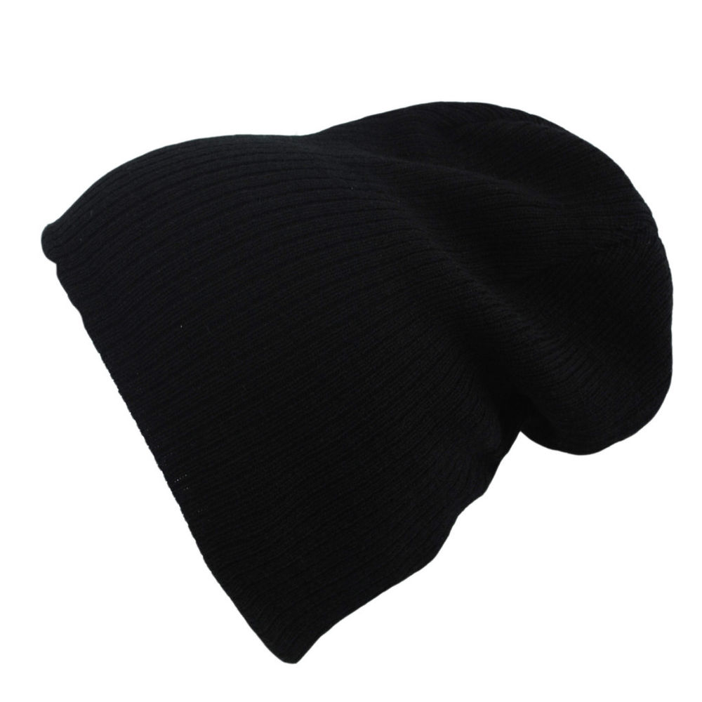 Atlantis Oversized Brad Beanie Black Charcoal Winter Wooly Hat | eBay