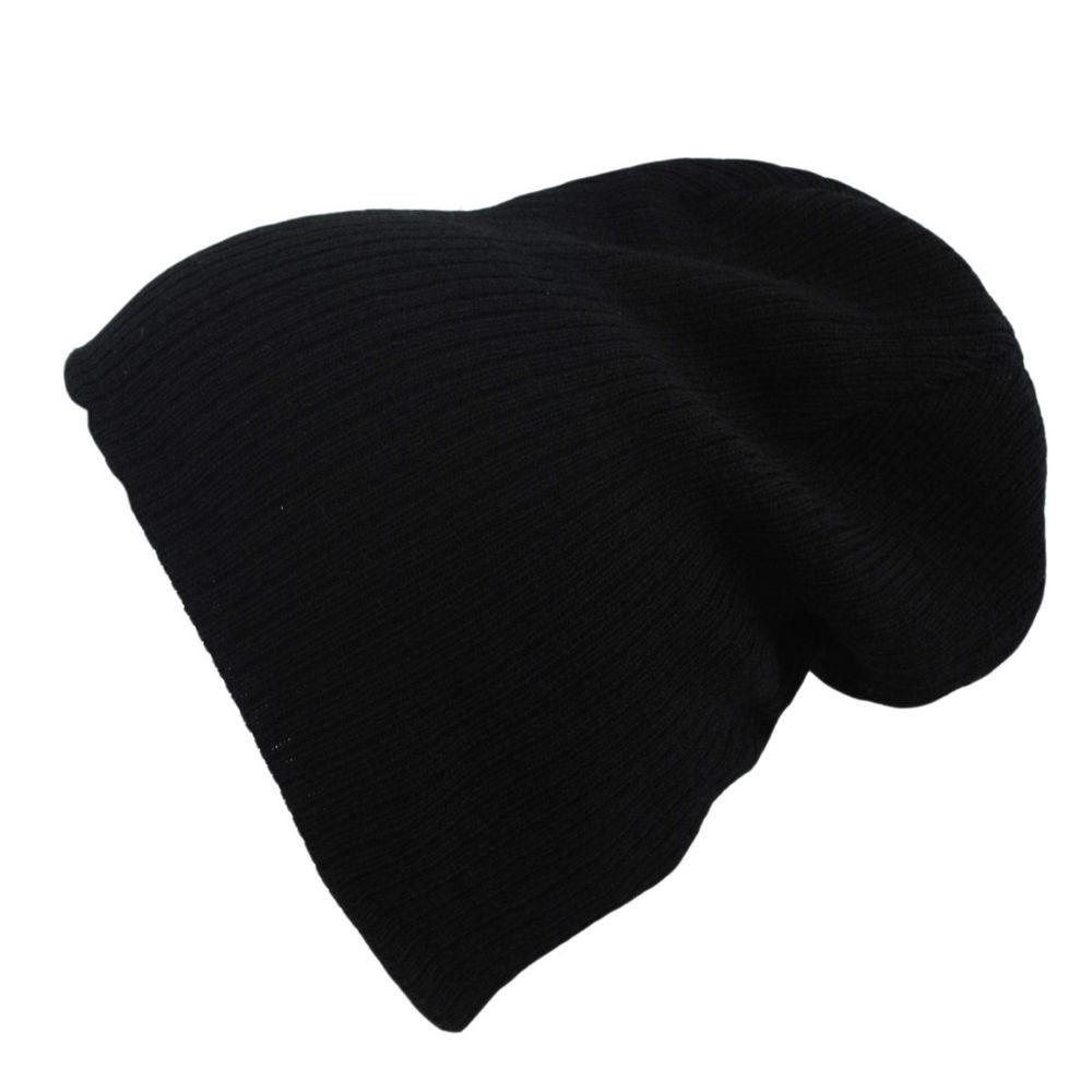 Atlantis Oversized Brad Beanie Black Charcoal Winter Wooly Hat | eBay