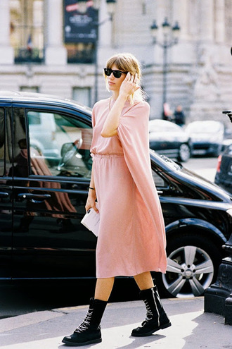 vanessa jackman blogger pink dress black boots