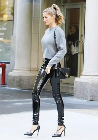 pants black vinyl pants tumblr vinyl black pants leather pants sweater grey sweater pumps pointed toe pumps high heel pumps bag black bag quilted bag
