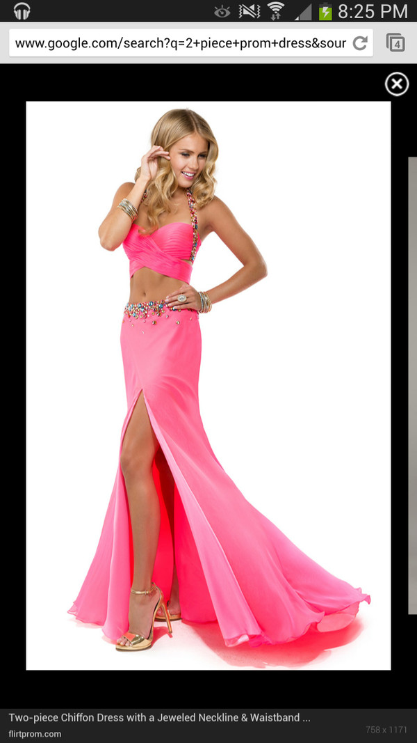 dress prom dress two-piece two-piece pink dress pink long prom dress